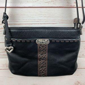 Brighton | Black Bronze Leather Crossbody Handbag